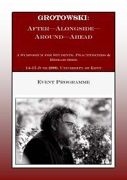 Grotowski Symposium - University of Kent