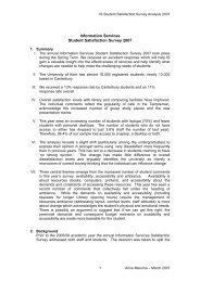 IS Student Satisfaction Survey - Report - University of Kent