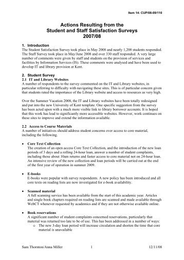 Actions resulting from the Student and Staff ... - University of Kent