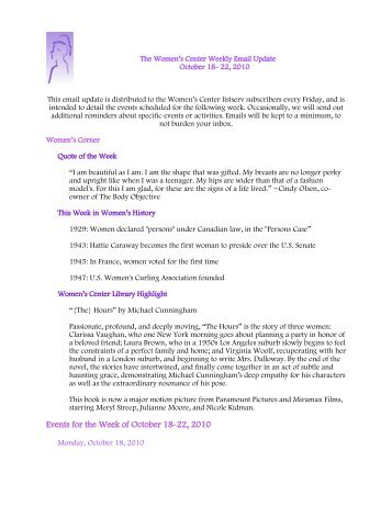 Events for the Week of October 18-22, 2010