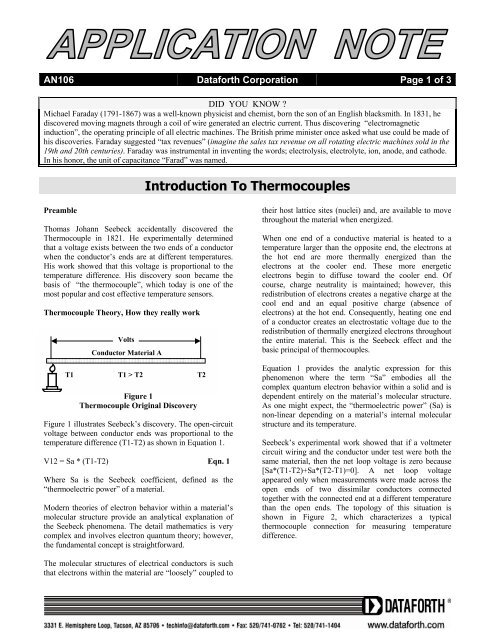 an106: Introduction To Thermocouples - Dataforth