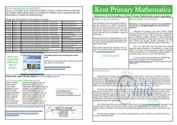Kent Primary Mathematics Team Newsletter - Issue 1 - Kent Trust Web