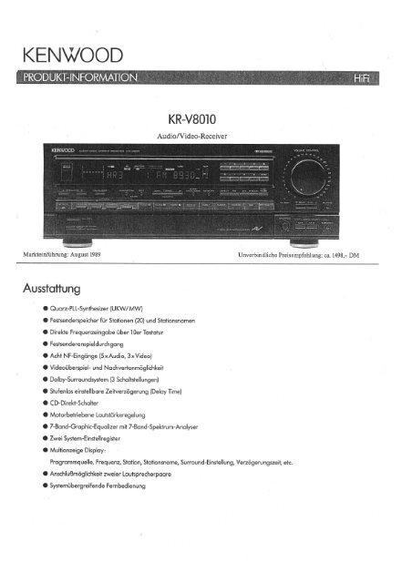 KR-V8010 - Kenwood