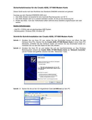 Sicherheitshinweise für die Creatix ADSL XT1800 Modem Karte ...