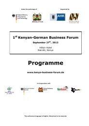 Program 1st Kenyan-German Business Forum - final - Afrika-Verein ...