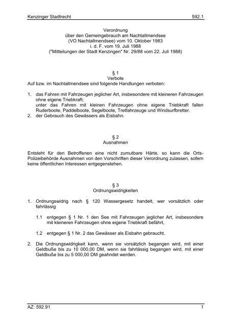Verordnung über den Gemeingebaruch am ... - Kenzingen