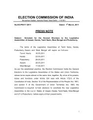 Schedule for the General Elections to the Legislative Assemblies of ...
