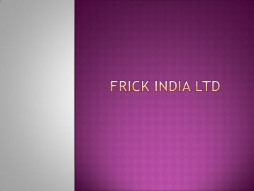 FRICK India - Compressors Dos & Don'ts