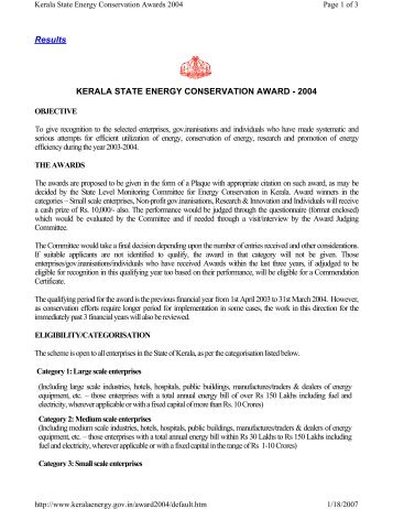 Results KERALA STATE ENERGY CONSERVATION AWARD - 2004