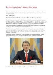 President Yushchenko's Address to the Nation - Kerk in Actie