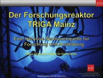 Der Forschungsreaktor TRIGA Mainz - Institut für Kernchemie ...