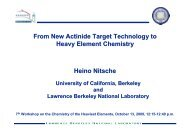 From New Actinide Target Technology to Heavy Element Chemistry ...