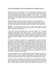 Practice Specialization, Diversity and Business Development Success