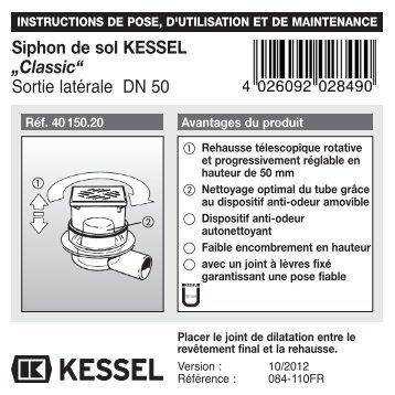 """Siphon de sol KESSEL """"Classic"""" Sortie latérale DN 50"""