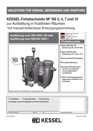 KESSEL-Fettabscheider D+S-P1 NS 2, 4, 7 und 10 zur Aufstellung ...