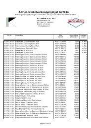 Prijslijst 2013 - AG Kessler & Zn. vof