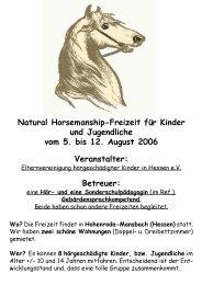 Natural Horsemanship-Freizeit für Kinder und Jugendliche vom 5 ...