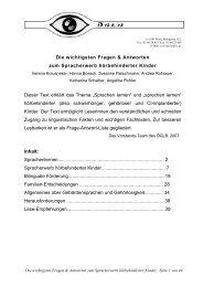Spracherwerb hörbehinderter Kinder - Verlag Karin Kestner