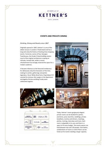 EVENTS AND PRIVATE DINING - Kettner's