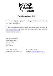 Plant list, Autumn 2012 - Kevock Garden