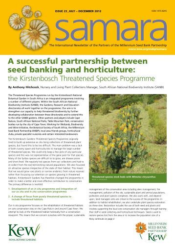 A successful partnership between seed banking and horticulture:
