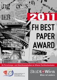FH BEST PAPER AWARD 2011 - für Forschungs- und - Wien