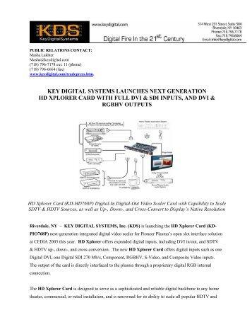 launches next generation hd xplorer card - Key Digital