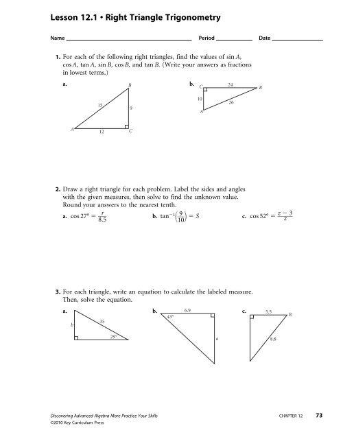 Lesson 121 â Right Triangle Trigonometry Keymathcom