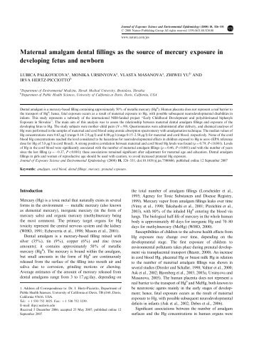 Maternal amalgam dental fillings as the source of ... - Key Toxins