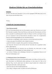 Konkrete Schritte hin zur Gemeindegründung - Konferenz für ...