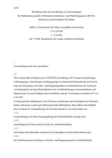 Richtlinien über die Gewährung von Zuwendungen für Maßnahmen