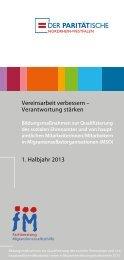 Vereinsarbeit verbessern – Verantwortung stärken 1. Halbjahr 2013