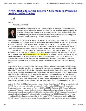 A Case Study on Preventing Auditor Insider Trading - Kostelanetz ...