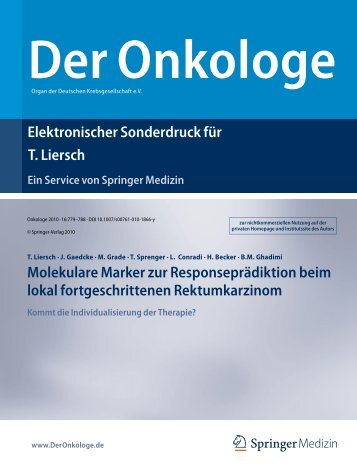 Onkologe 2010, 16:779-788, epub 2010 July 8. - Klinische ...