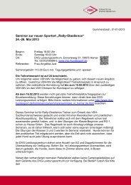 "Seminar zur neuen Sportart ""Rally-Obedience"" 24.-26. Mai ... - VDH"