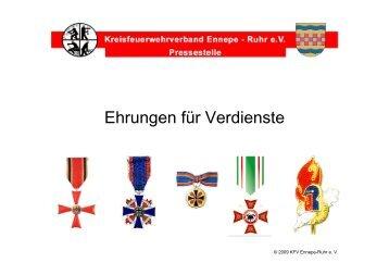 Ehrungen für Verdienste - Kreisfeuerwehrverband Ennepe-Ruhr eV