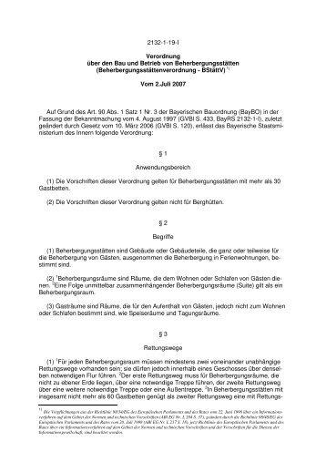 Verordnung über den Bau und Betrieb von Beherbergungsstätten