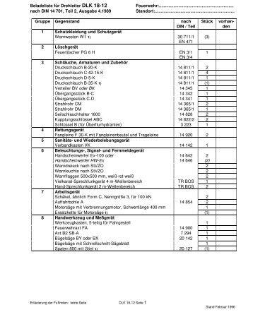 Tsf din 14530 teil 16 mit tabelle f r zusatzbeladung for Din 6812 tabelle 18