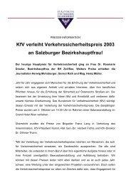 KfV verleiht Verkehrssicherheitspreis 2003 an Salzburger ...