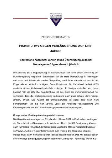 Presseaussendung: Pickerl: KfV gegen Verlängerung auf drei Jahre!