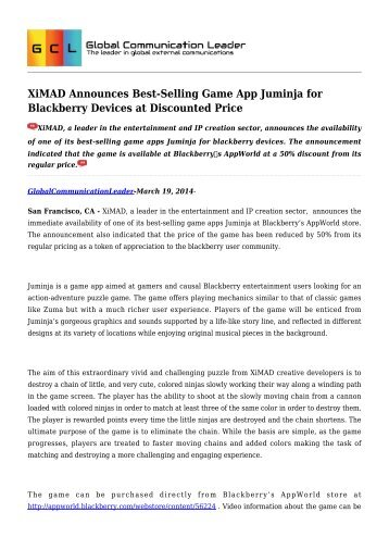 XiMAD Announces Best-Selling Game App Juminja for Blackberry Devices at Discounted Price