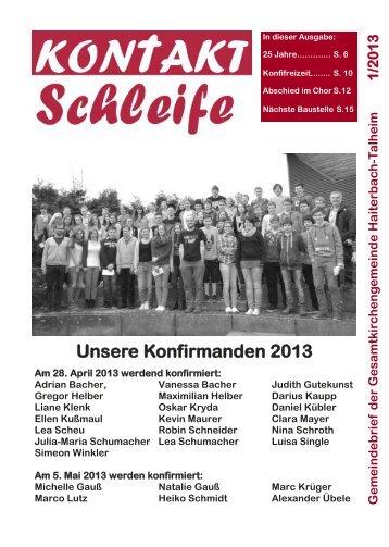 Unsere Konfirmanden 2013 - Kirchengemeinde Haiterbach