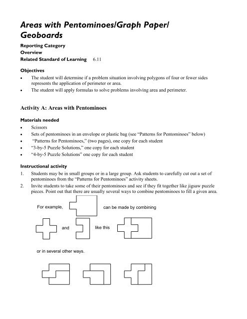 areas with pentominoes graph paper