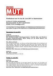 Filmfestival vom 16. bis 28. Juni 2011 in Saarbrücken