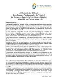 """""""Inklusion In Der Bildung"""" – Gemeinsames Positionspapier"""
