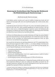 Steuerung der Krankenhäuser über Planung oder Wettbewerb – Die ...