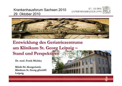 Entwicklung Des Geriatriezentrums Am Klinikum St Georg Leipzig