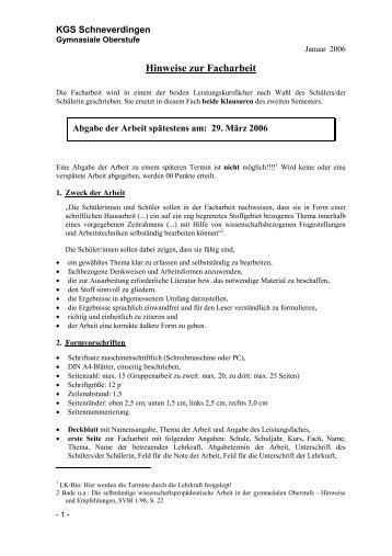 Hinweise zur Facharbeit - KGS Schneverdingen