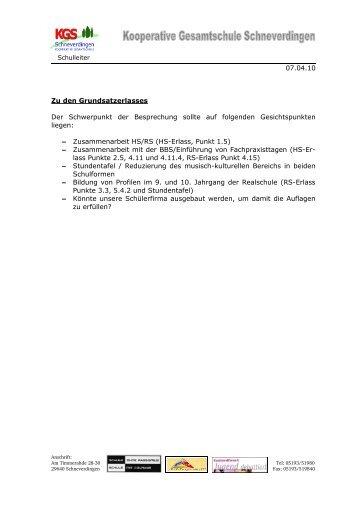 Grundsatzerlassentwürfe - KGS Schneverdingen