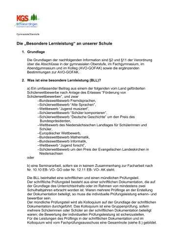 Besondere Lernleistung - KGS Schneverdingen